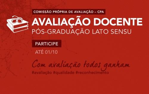 Banner central - Avaliação Docente - pós-graduação Lato Sensu