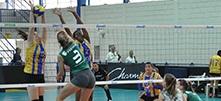 Equipe de vôlei feminina jogando