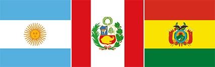 Imagem central - bandeiras da Argentina, Peru e Bolívia