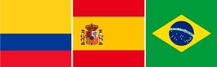 Imagem central - Colômbia, Espanha e Brasil