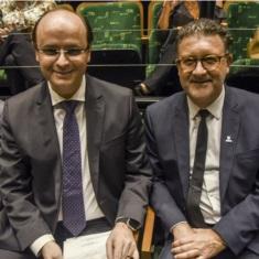 Rossieli Soares e o reitor Cleber Prodanov