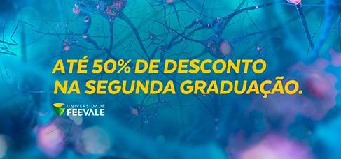 Banner central - até 50% de desconto na segunda graduação