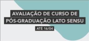 Banner central - Avaliação Pós-Graduação Lato Sensu